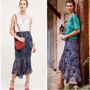 Anthropologie Vanessa Virginia silk maxi skirt